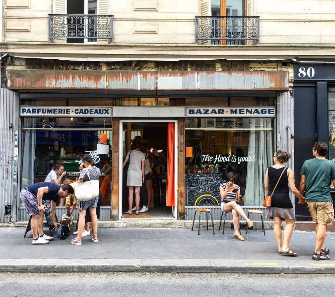 outside view of the hood cafe in Paris