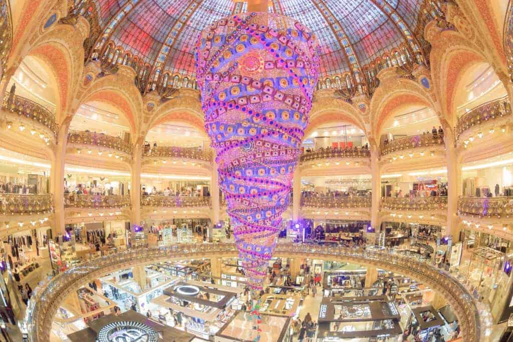 Swarovski christmas tree at the famous Galeries Lafayette department store on the Boulevard Haussmann