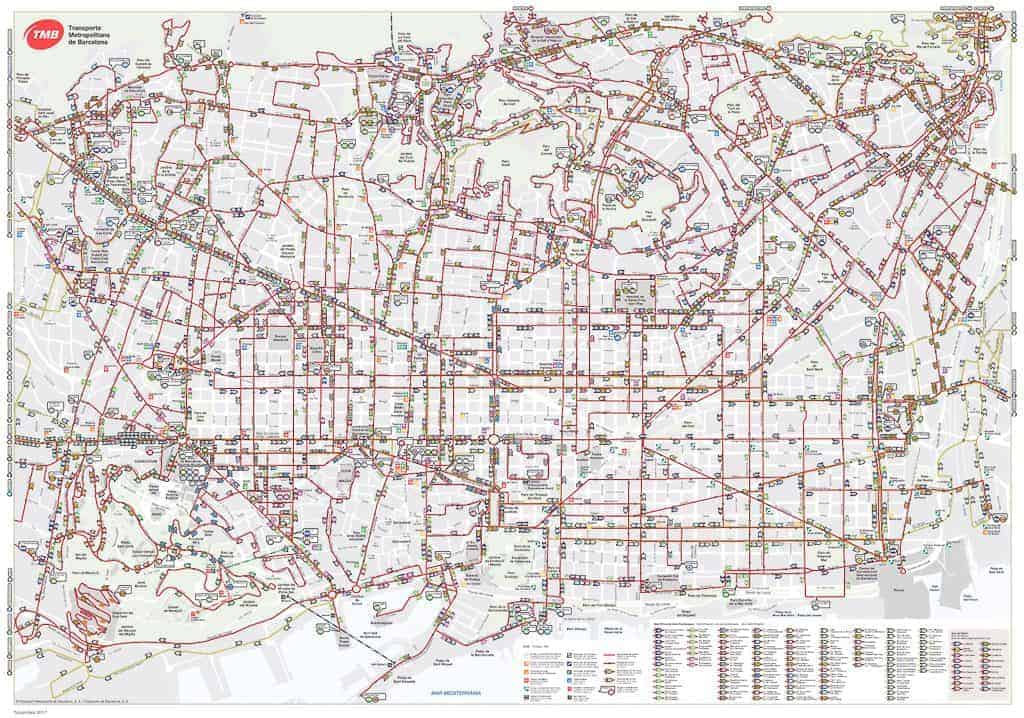 Public Transportation In Barcelona - Barcelona Bus Network Map