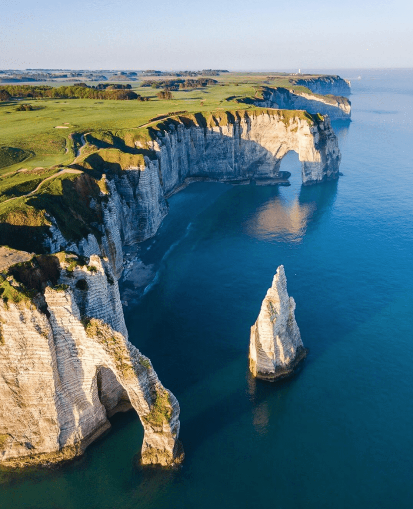Etretat France aerial view of the cliffs