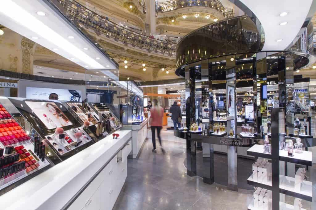 Cosmetics and accessories floor at Galeries Lafayette