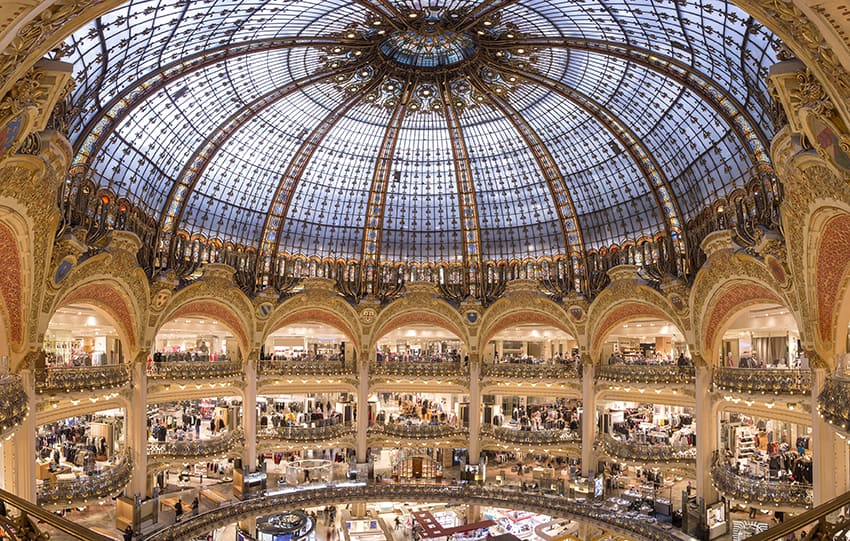 View of the Galeries Lafayette with stunning glass coupole