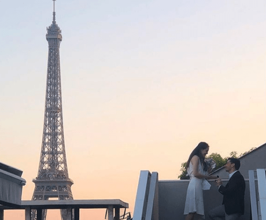 Proposal on the rooftop of Maison Blanche restaurant