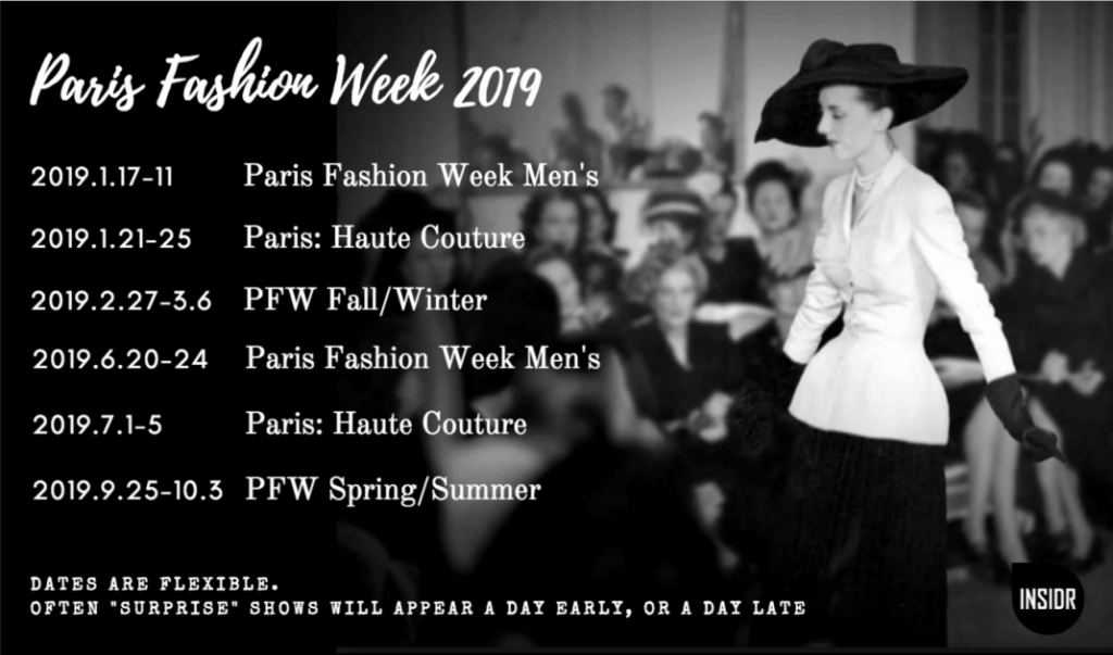 INSIDR Guide To Paris Fashion Week - 2019 Paris Fashion Week Calendar