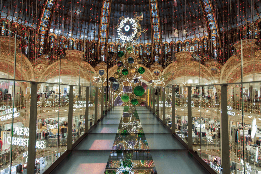 Christmas & New Year Trip In Paris - Giant Christmas Tree INSIDE GALERIES LAFAYETTE PARIS HAUSSMANN