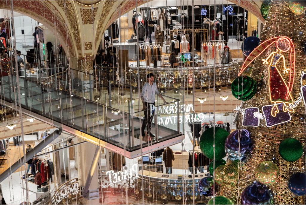 Christmas & New Year Trip In Paris - Christmas Tree On Glass Walk INSIDE GALERIES LAFAYETTE PARIS HAUSSMANN