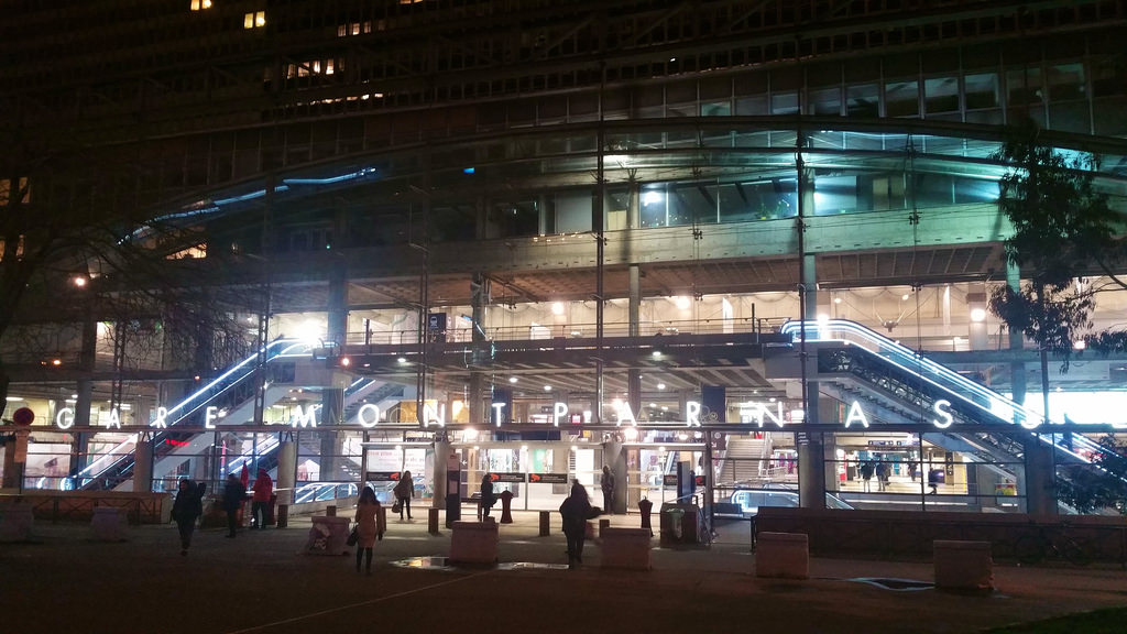 outside Gare Montparnasse at night
