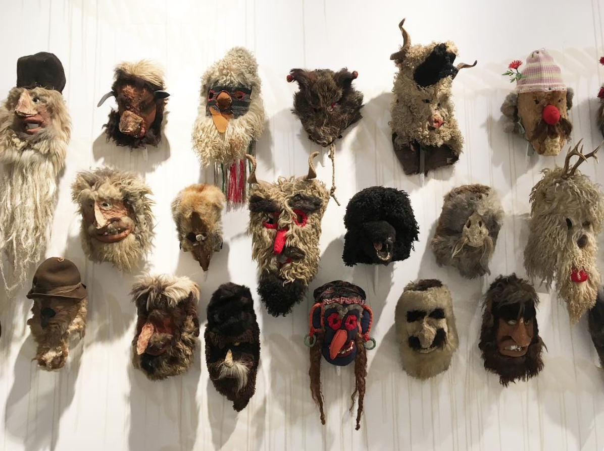 masks on the wall of musee de la chasse et de la nature