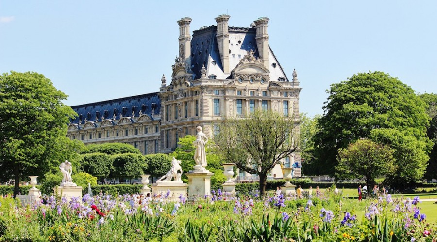 The gardens of Tuileries in spring