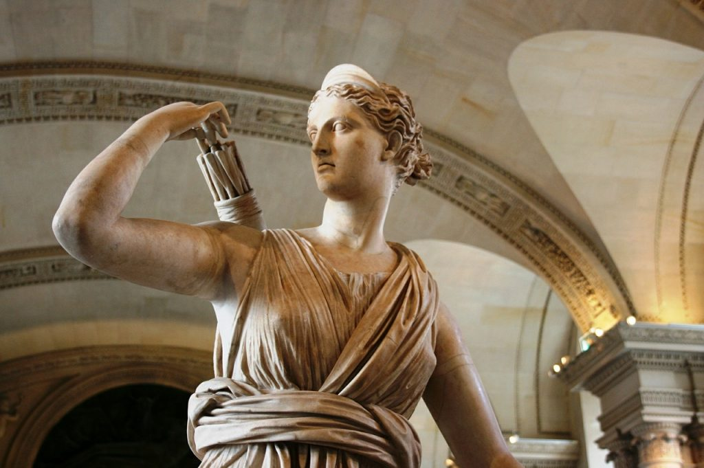 View of Diane - a Roman statue from the Louvre Museum sculpture collection
