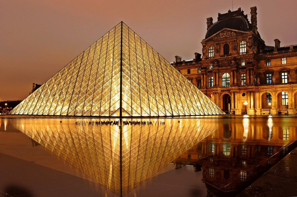 Louvre at night - View of the Louvre Pyramid all lighten up at night