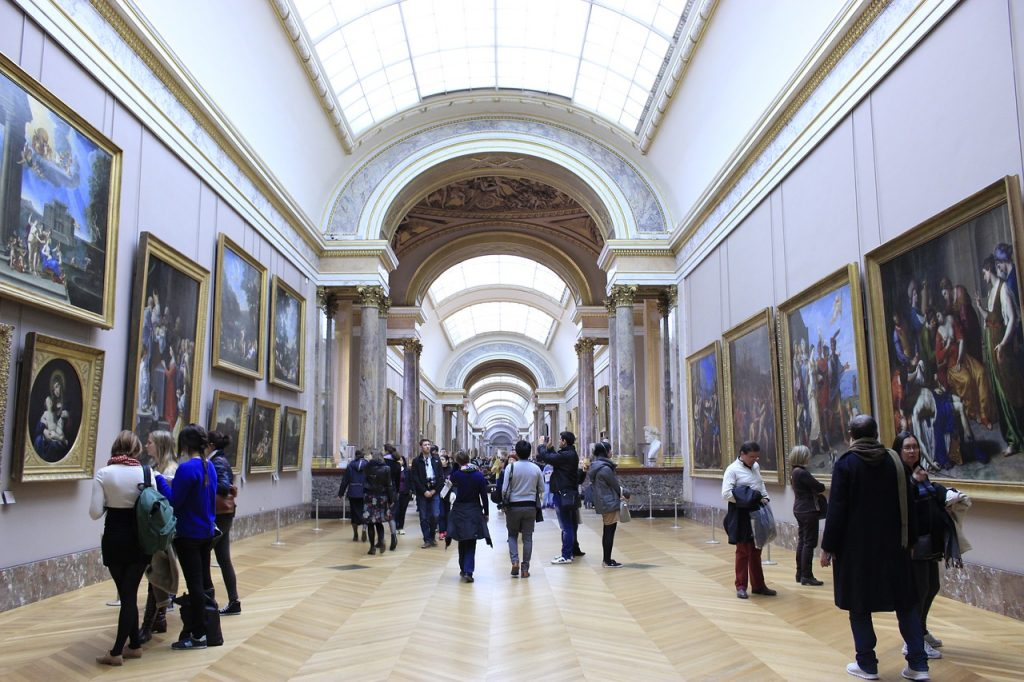 View of the paintings galleries in the Louvre Museum