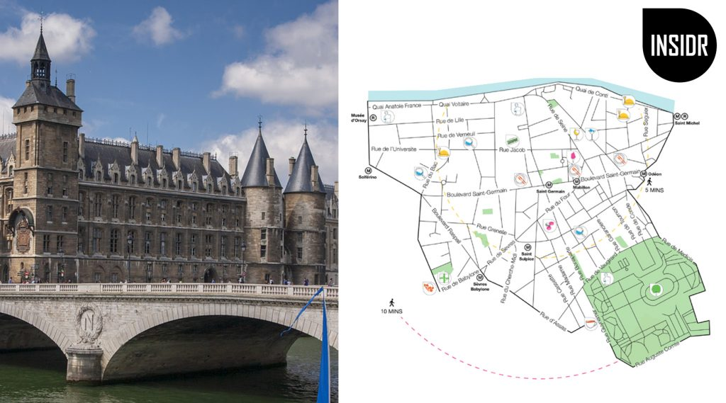 Preview of the Saint Germain des Pres map with a photo of the left bank view from the Seine river