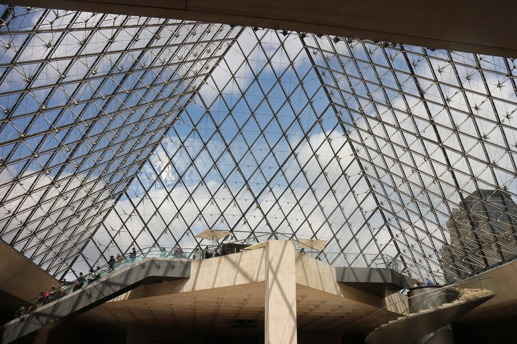 Louvre entrance - View of Pyramid main entrance of the Louvre museum