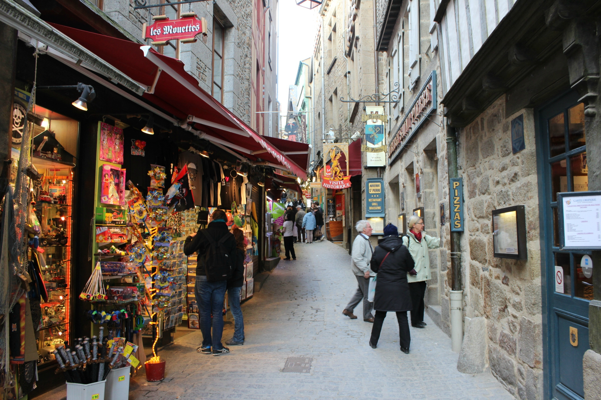 Souvenir shops inside Mont Saint Michel