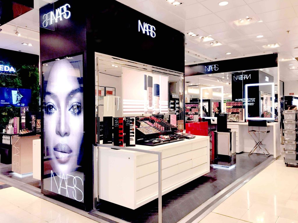 View of NARS corner at Galeries Lafayette department store