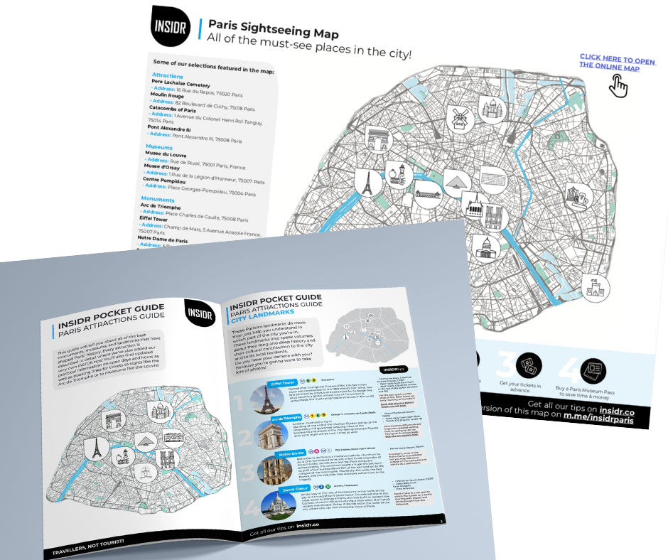 Paris Attractions Map - Free PDF Download | INSIDR Travel Guide