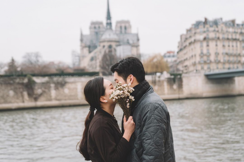 A romantic couple in Paris