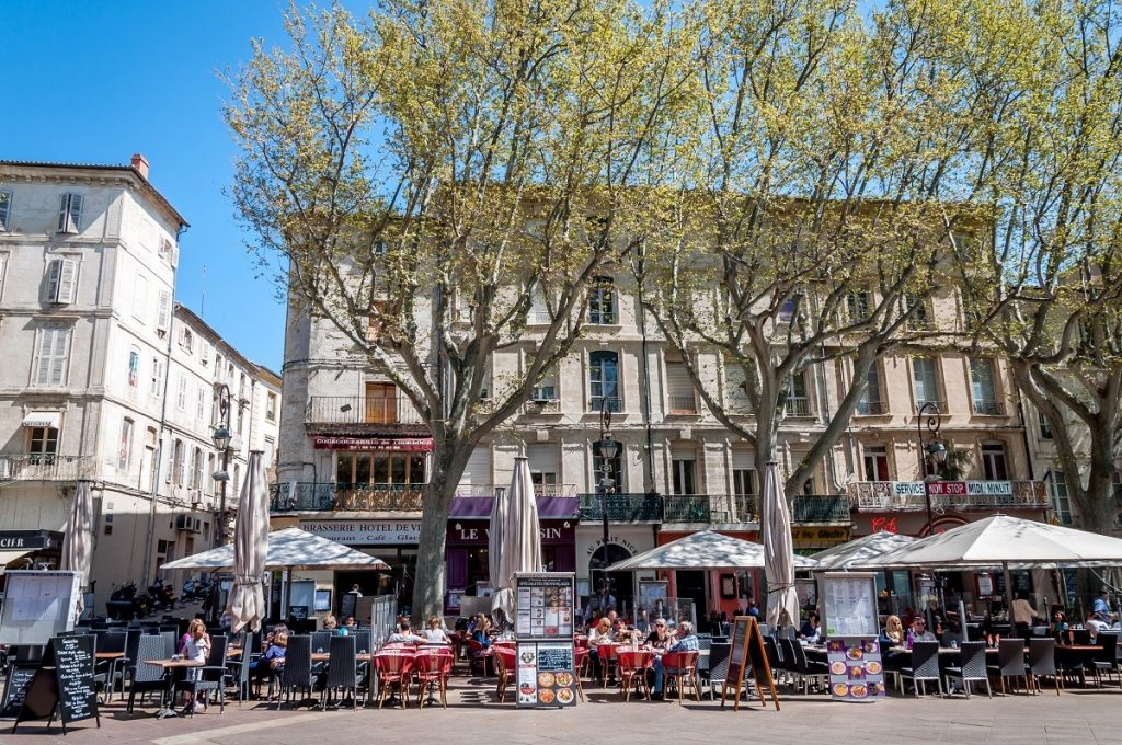 A crowded square in Avignon, France
