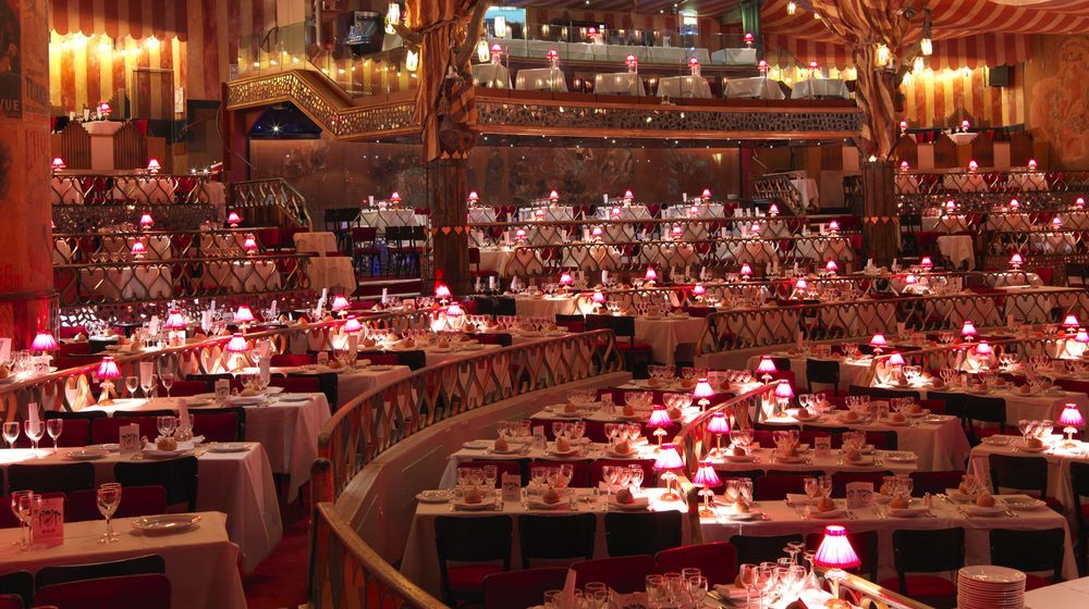 The VIP dinner set-up at the Moulin Rouge