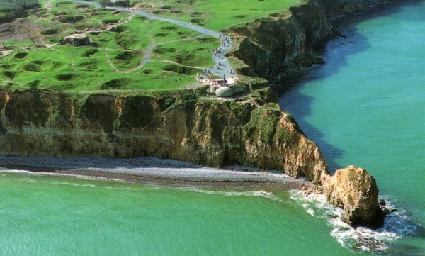 aerial shot of Point du Hoc in Normandy, France