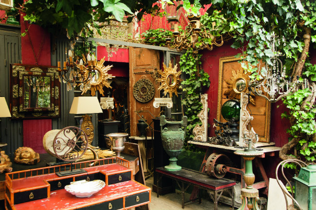 a shop at the Saint-Ouen flea market in Paris