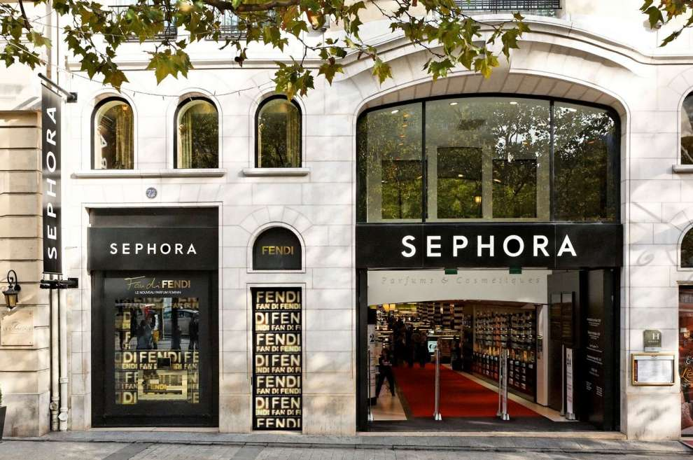 the facade of the Sephora flagship on Champs Elysees in Paris