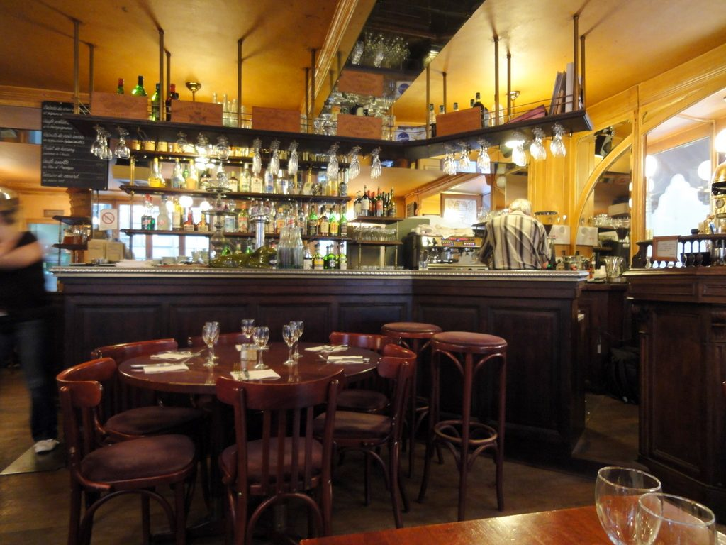 Inside the restaurant of Bistro Victoires