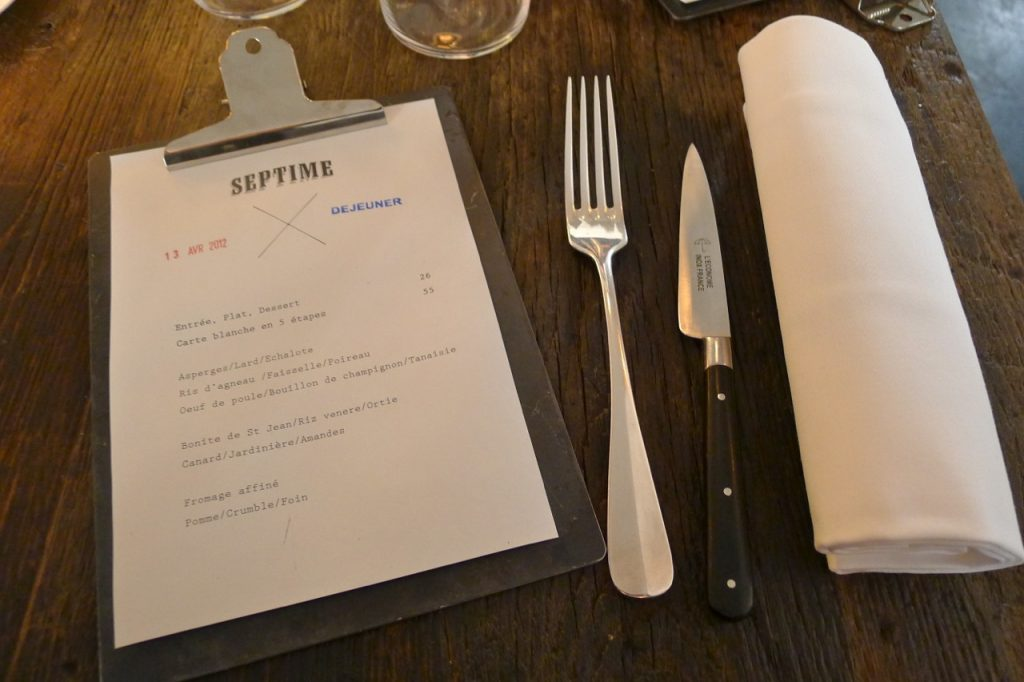 Lunchtime menu at Septime