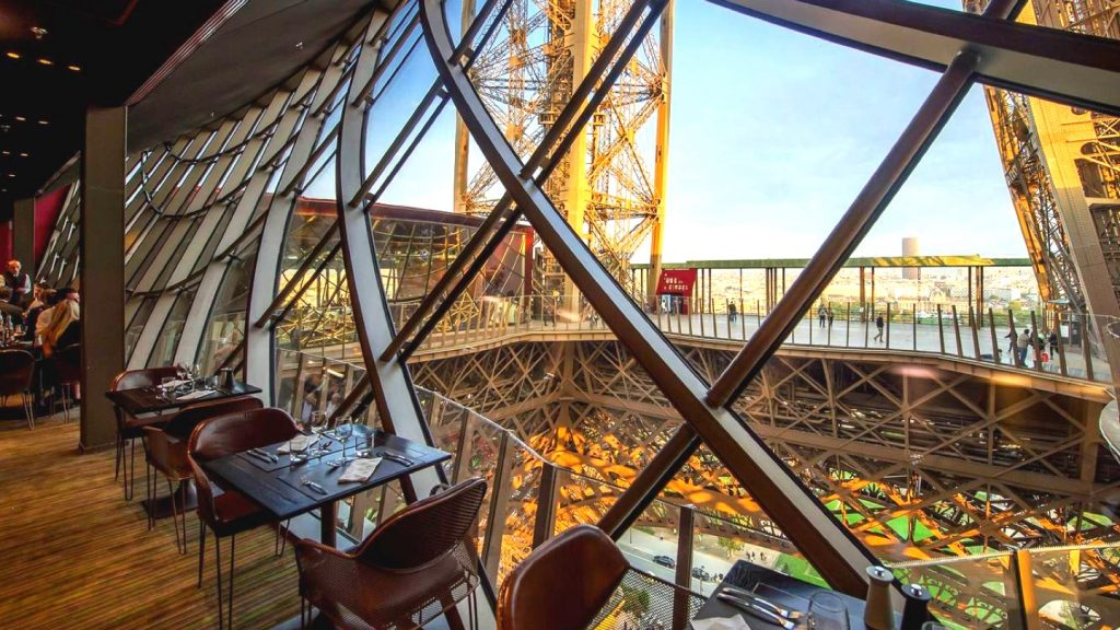 interiors of Restaurant 58 at the Eiffel Tower