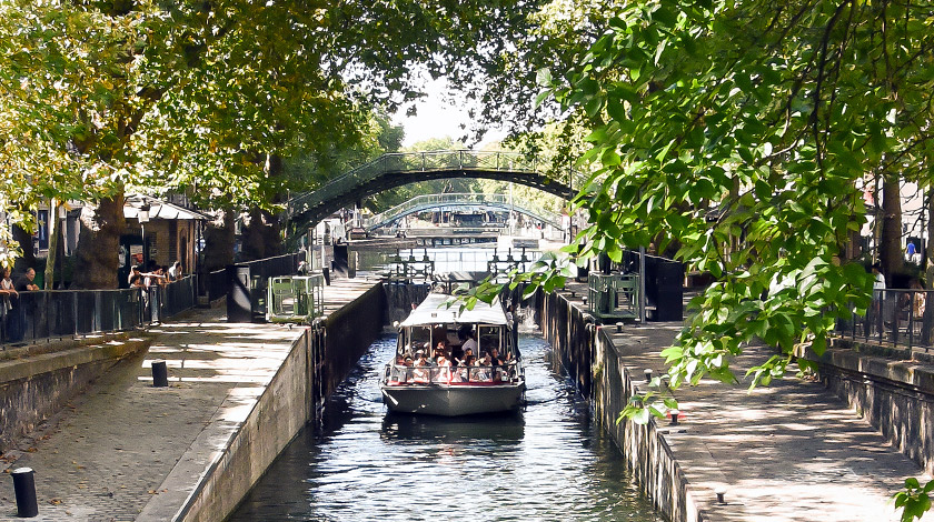 view from one of the ridges over Canal Saint Martin in Paris