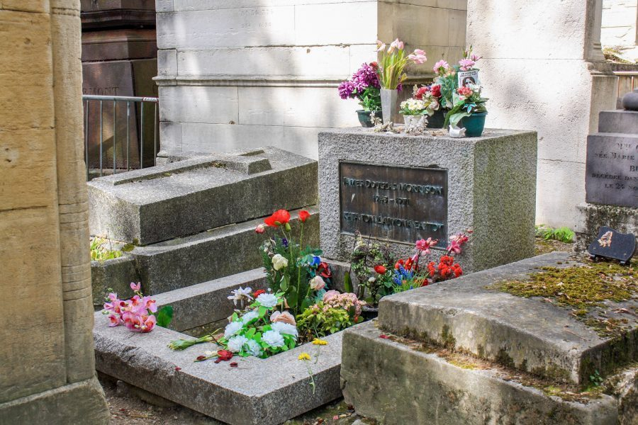 Jim Morrison's grave at Pere Lachaise cemetery in Paris