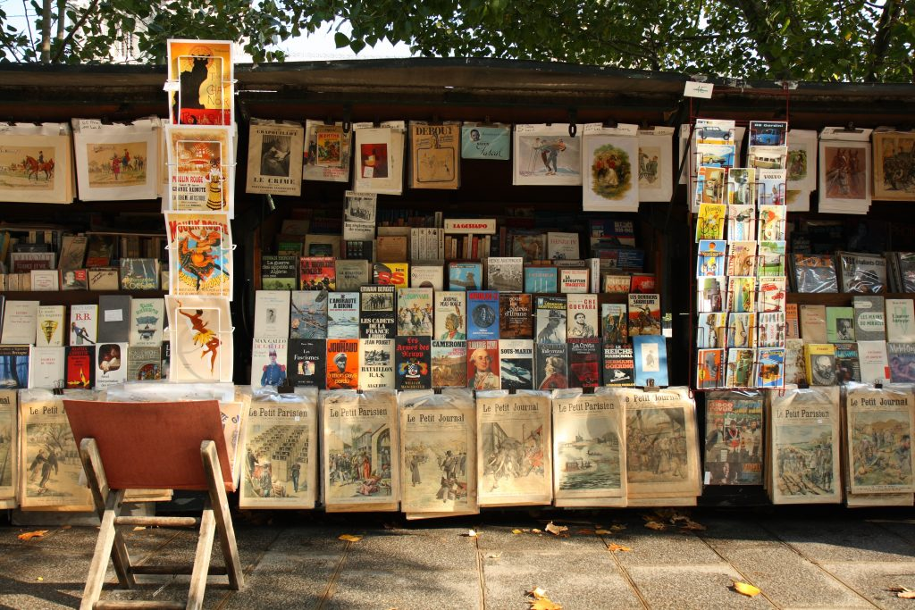 one of the vintage book stalls by the Seine in Paris