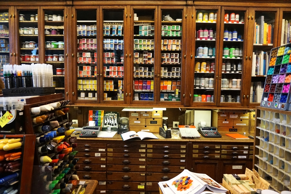 Inside the art supplies store Sennelier in Paris