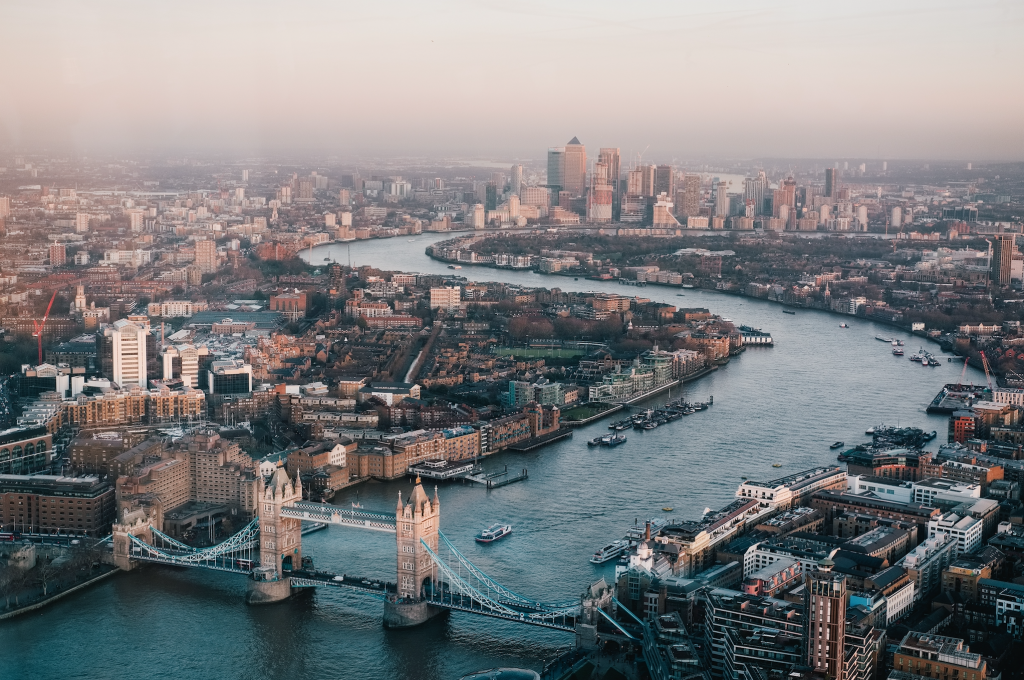 aerial shot of the city of London