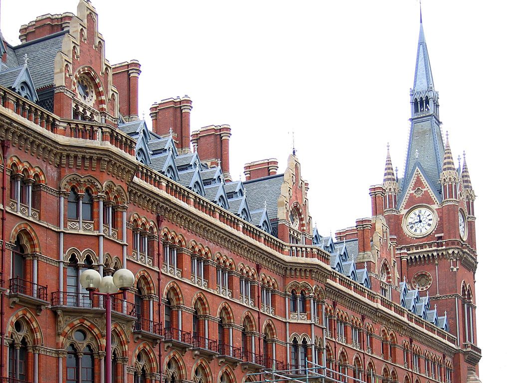 The building of St Pancras station in London