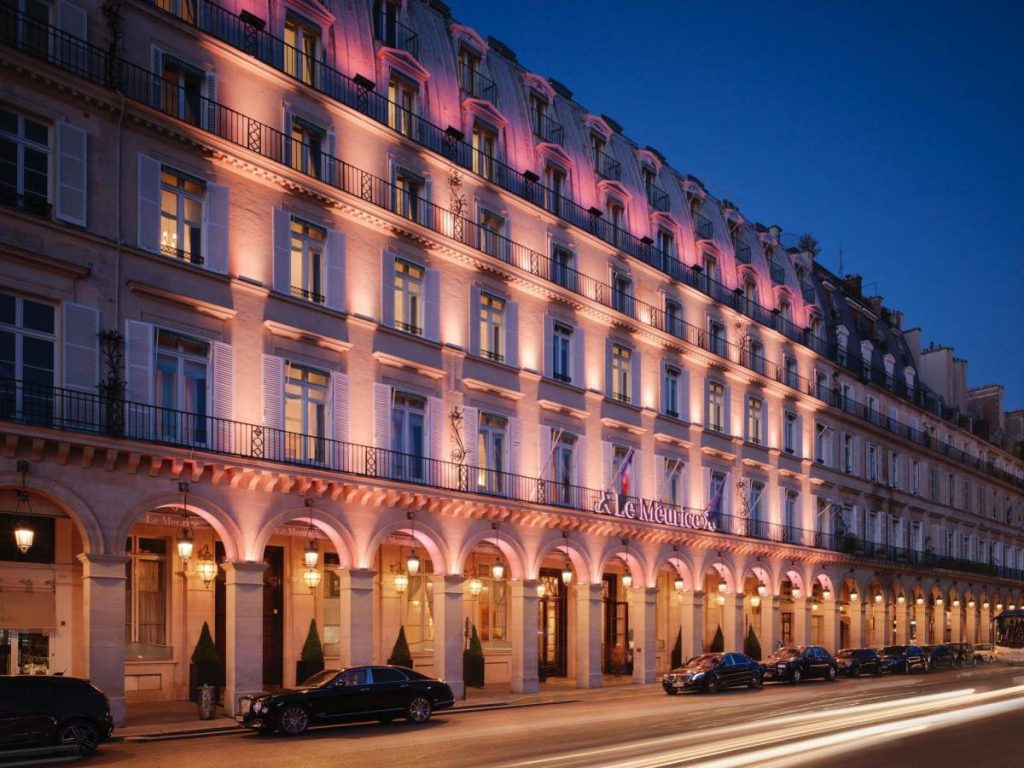 the facade of Le Meurice Hotel Paris