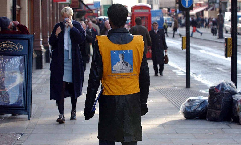 charity worker on a London street