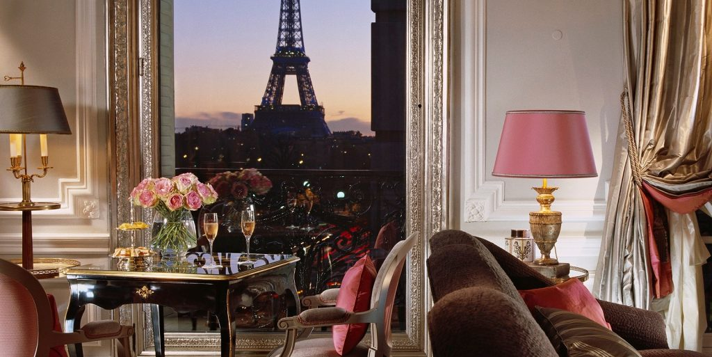 Eiffel Tower view from Plaza Athenee