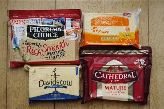 UK grocery store brands cheddar cheese