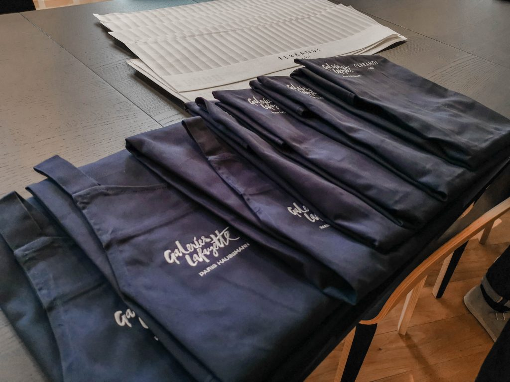 The aprons and chef's hats for the students!